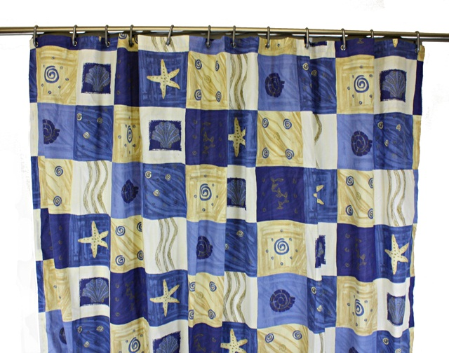 patterned shower curtain with beach theme 178cm x 178cm poly cotton