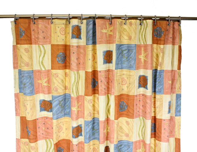 patterned shower curtain with beach theme 178cm x 178cm
