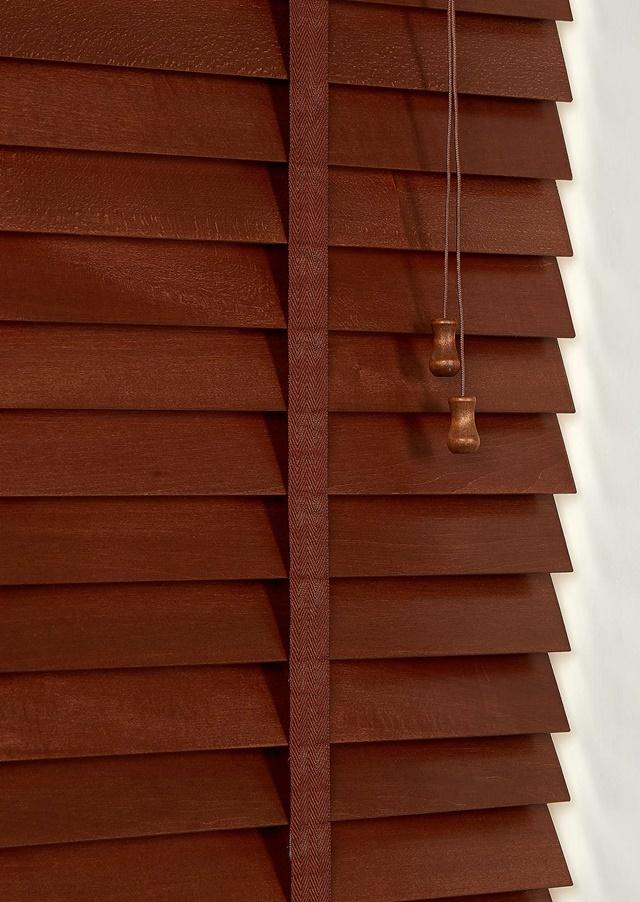 50mm Slat Real Hard Wood Venetian Blind 75cm Wide X 160cm