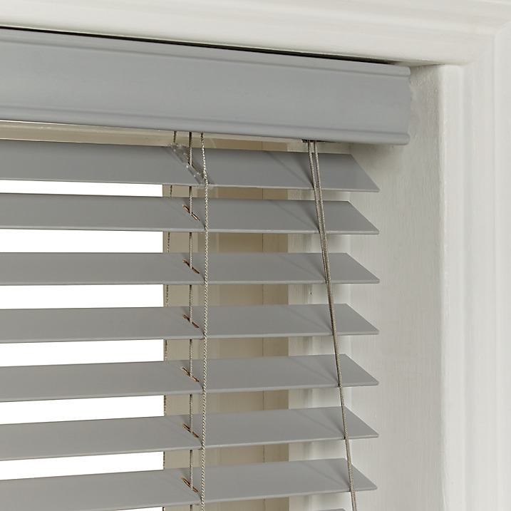 Light Grey Painted Faux Wood Blinds