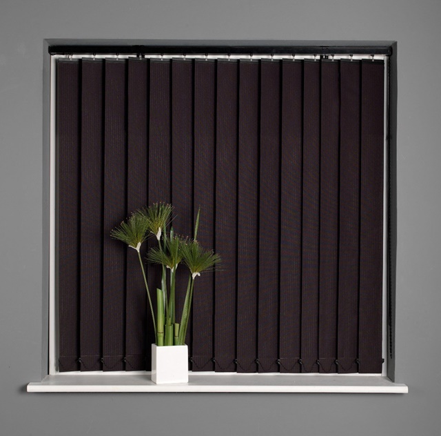 Stripe Black Ready Made Vertical Blinds Complete 6 Sizes