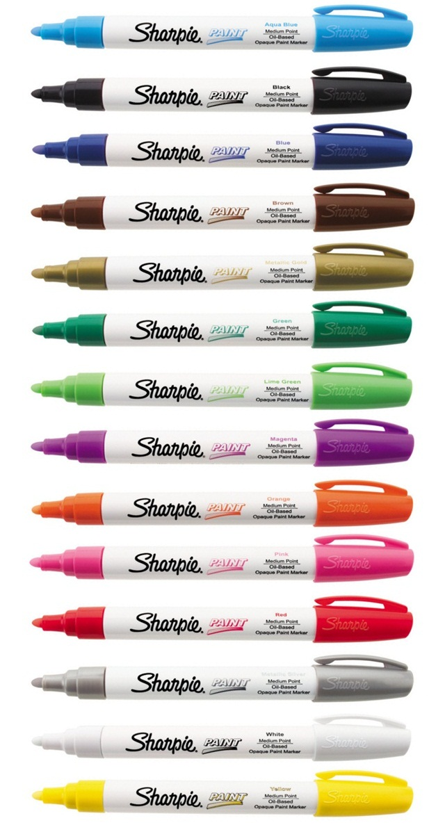 Sharpie Paint Marker MEDIUM Tip Pens OIL BASED. Most surfaces Indoor & Outdoor
