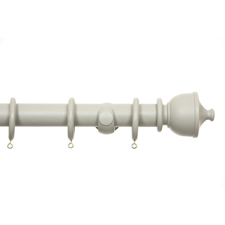 Dove Grey 35mm Ø Wooden Curtain Pole Set 180 To 360cm